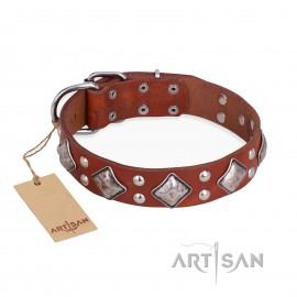 "German Shepherd Collar of Black Leather ""Smart Geometry"" Artisan"