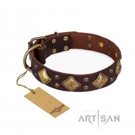 """German Shepherd Collar Tan Leather """"Magic Squares"""" FDT Artisan"""
