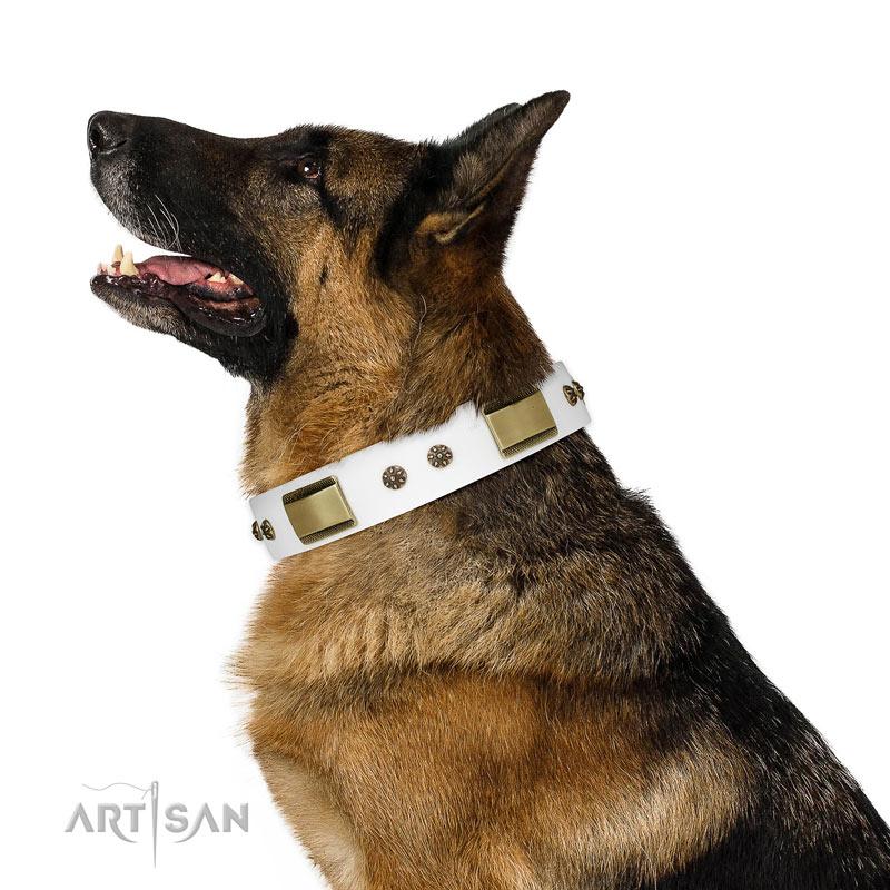 Luxus Hunde Halsband weißes Fettleder kaufen