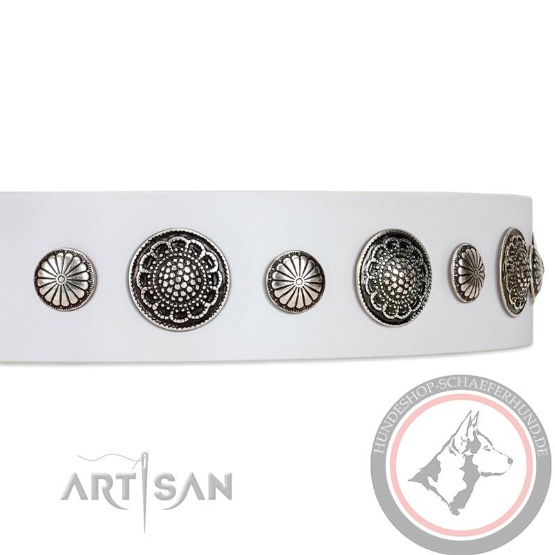 Halsband aus weißem Echtleder kaufen