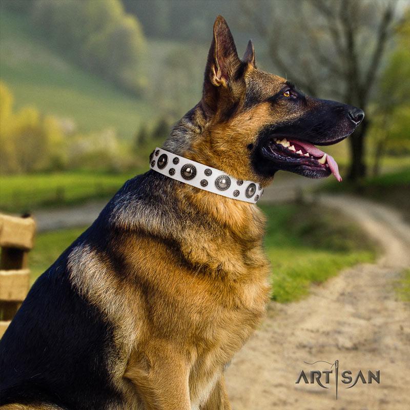 Weißes Hundehalsband aus Leder mit geprägten Schmucken