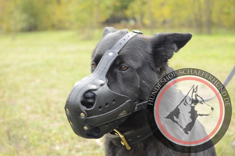 Maulkorb aus Leder für Schäferhund für Polizeidienst und Attacke